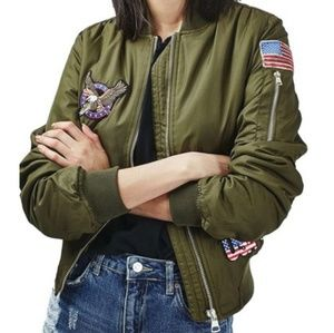 Top Shop bomber jacket with patches.